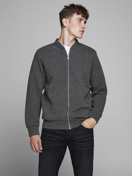 Structure Sweat Zip Baseball Neck, Dark Grey