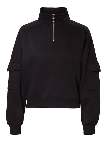 Helene L/S Zip Sweat, Black