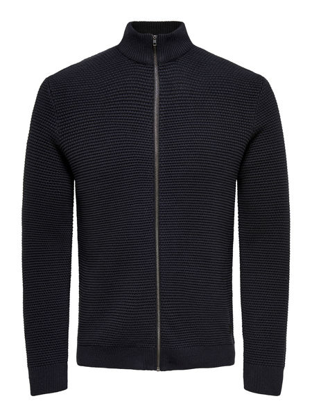 Daniel 5 Structure Zip Cardigan, Black