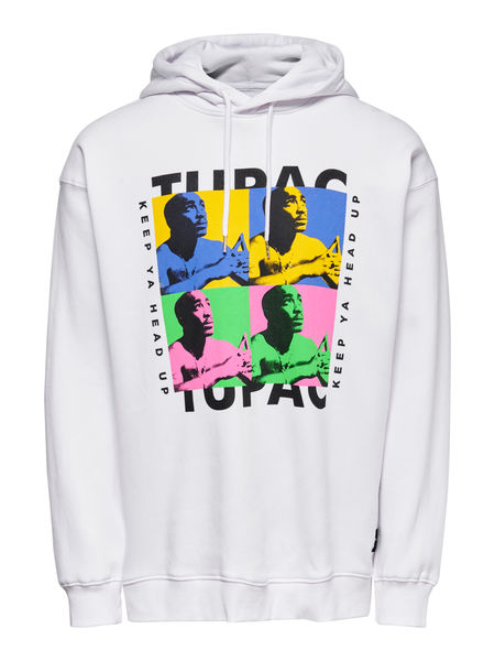 Tupac Life Oversize Sweat, White