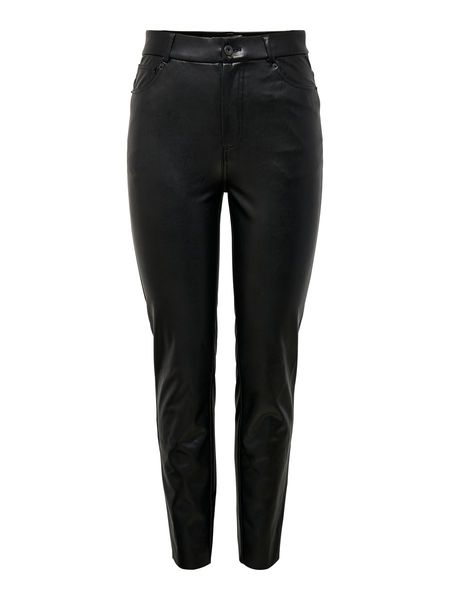 Emily Highwaist Ankle Faux Leather Pant, Black