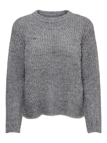 Fiona L/S Pullover Knit, Medium Grey