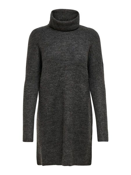 Jana Cowlneck L/S Dress, Dark Grey Melange