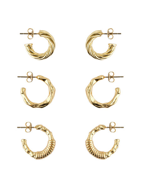 Ruby 3-pack Creol Earrings, Gold