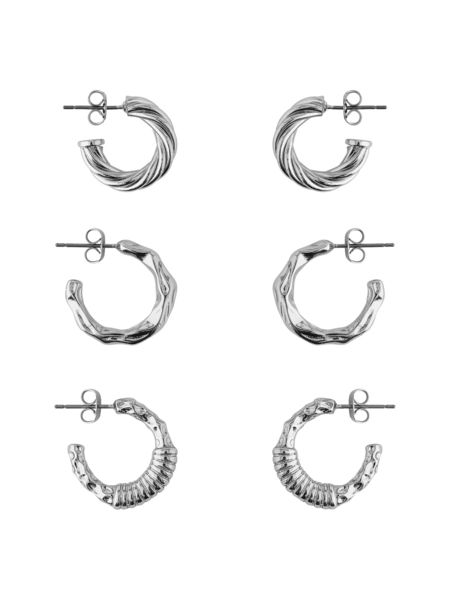 Ruby 3-pack Creol Earrings, Silver