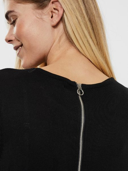 Vica Zipper Black Blouse, Black