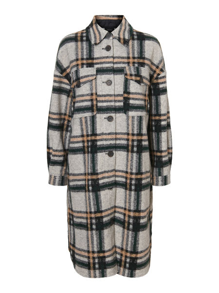 Chrissie Long Check Shirt, Light Grey Melange