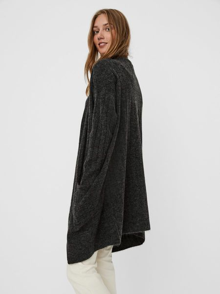 Iva Open Rib Cardigan, Dark Grey