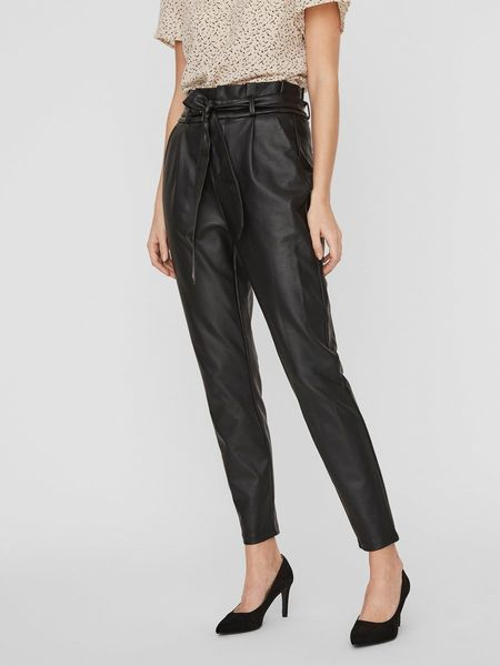 Eva Loose Paperpag Coated Pant, Black