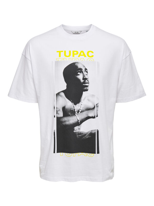 Tupac Life Over Size Tee, White